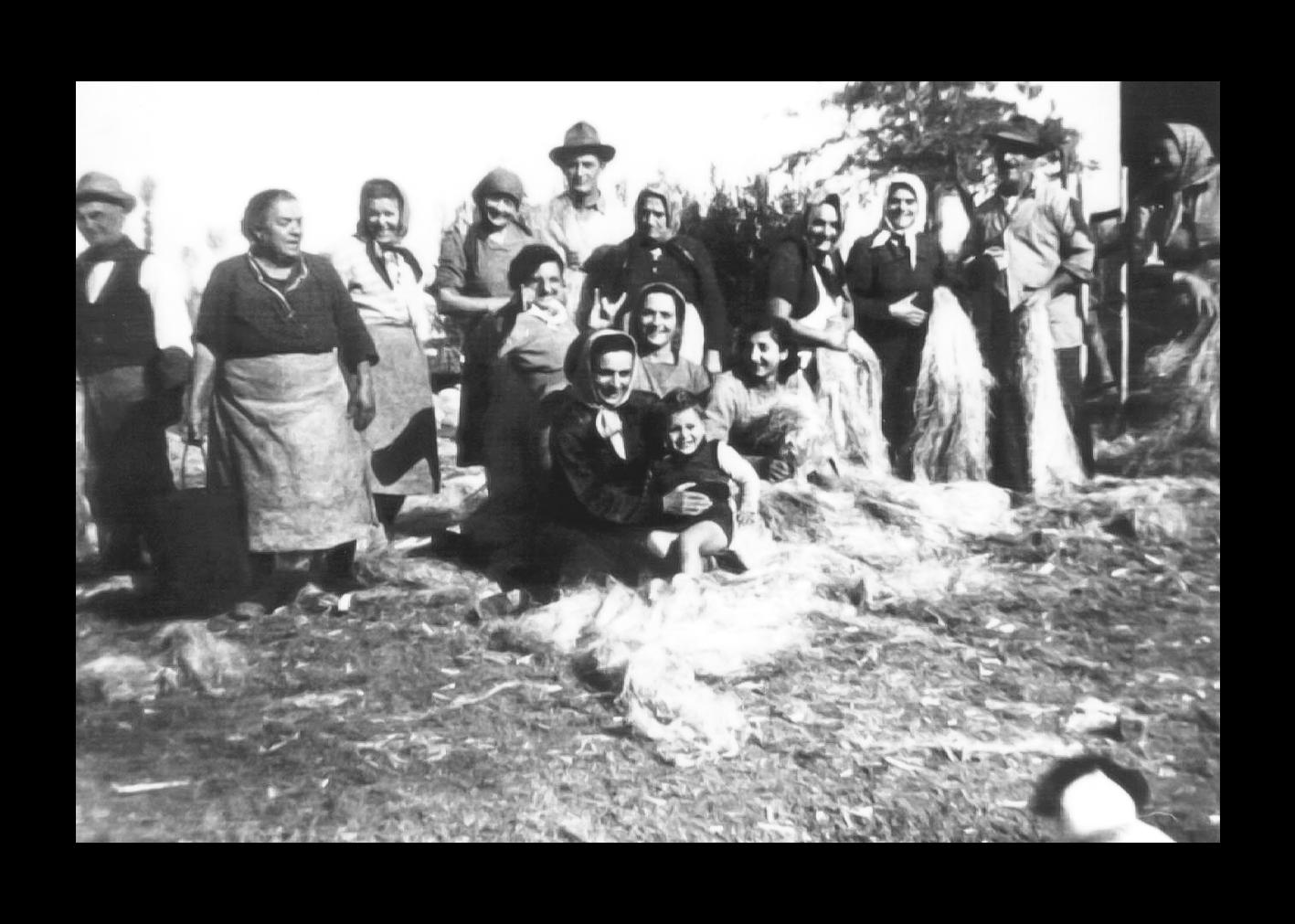 Foto di gruppo durante la gramolatura della canapa